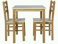 TWO TONE TABLE AND 2 CHAIRS