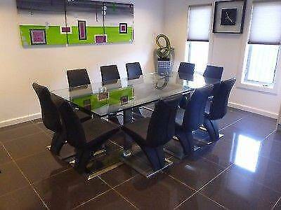 Gainsville Crystal Rectangle Dining Table /w 10 Leather Seats