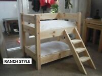 DOG OR CAT, MADE TO MEASURE SOLID PINE BUNK BEDS