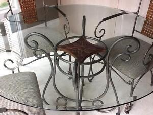 heavy Wrought Iron Dinette set and server
