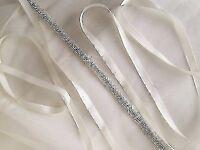 Thin Bridal Belt Ivory White Rhinestones