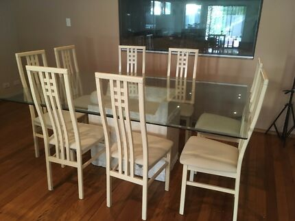 Marble & Glass Dining Table & Chairs + Coffee & 2 Side Tables