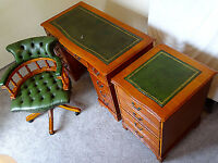 Yew Serpentain Front Leather Top Desk+Filing Cabinet+Key+Chesterfield Swivel Captains Office Chair