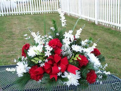 Red White Christmas Cemetery Flowers Grave Headstone Sympathy Tombstone Saddle