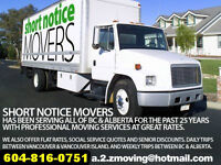 SHORT NOTICE MOVING & PACKING SERVICES VANCOUVER