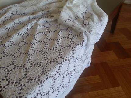 Crocheted White Table Cloth