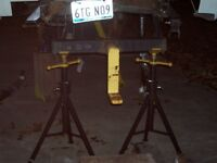 2 WELDING JACK STANDS VERY HEAVY DUTY AXLE SHEET METAL STAND GREAT WORKING ORDER