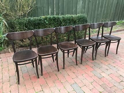 FREE DELIVERY! Rare set of 6 Original Thonet TON Banana chairs !