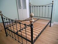 KING SIZE WROUGHT IRON BLACK AND GOLD BRASS METAL BED FRAME FROM DREAMS