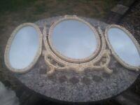 triple mirror vintage shabby chic retro gold and cream £35 ono (Sherwood)