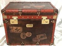 English Handmade Leather Steamer Luggage Chest Bedside Table Brass Fixtures