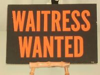 Waitress wanted afternoons nights and weekends part or full time