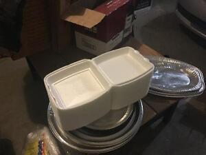 Take out containers/ sauce and lids too/platters