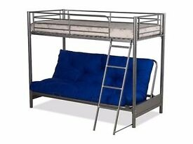 SILVER HIGH SLEEPER BED WITH FUTON THE FUTON IS A LIGHTER BLUE 1 SIDE /CHINESE SYMBOLS ON THE OTHER