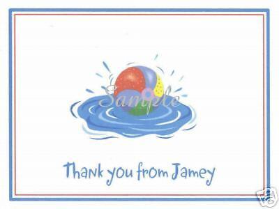 12 Custom Thank You/Note Cards/Pool/Beach/Ball/Swim](Custom Beachballs)