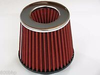 "New Performance High Flow Cone Air Filter (100mm) 4"" Inch Neck Diameter RED"