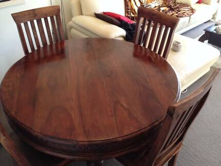 Beautifully Carved Solid Wood Dining Table Chairs