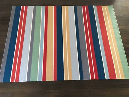 Ikea Ravnso large multi coloured striped rug - as new - 240x170cm
