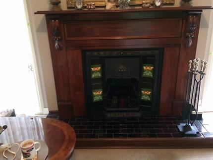 Victorian Cast Iron Fireplace & Timber Mantle piece