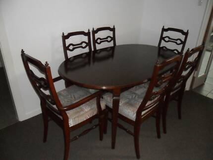 DINING SUITE BY T H BROWN 6 CHAIRS OVAL EXTENSION TABLE QUALITY