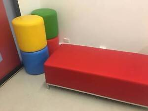 Soft Bench + 4 Matching Pouf Side Furniture Rosebery Inner Sydney Preview