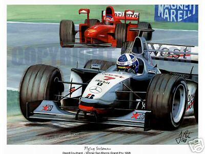 A3  ART PRINT - DAVID COULTHARD McLAREN - IMOLA 98