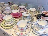 Vintage tea cup trio sets for Hire £2.50 per set
