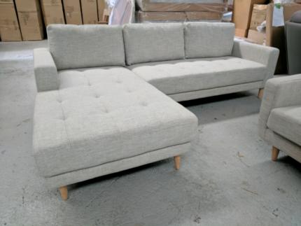 Pippen Tauntaun Fabric 3 Seat Chaise Sofa - BRAND NEW