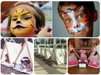 face painting, sleepover tents, bell tents, children's parties , wedding entertainment