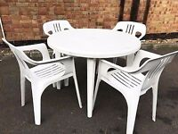 CHEAPER Garden Furniture Set of Plastic Chairs and 1 Table