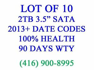 "LOT OF 10 x 2TB SATA 3.5"" DESKTOP HARD DRIVES - 100% TESTED, 100% HEALTH, 90 DAYS WARRANTY"