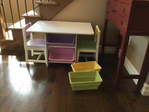 Kid's table with 2 chairs and storage