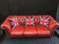 Handmade Chesterfield Style Leather Sofa Settee 3 Seater Oxblood Bar Hotel Cafe Living Room