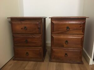 Chest of drawers and matching pair of bedside tables Kew Boroondara Area Preview
