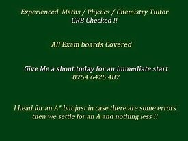 Experienced A-Level Maths (Pure & Applied), Further Maths (Pure & Applied) Physics, Chemistry Tuitor