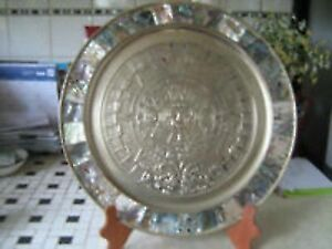 """Round Solid Brass AZTEC CALENDER with Jem Stones-11""""--$75."""