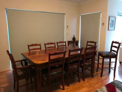 Timber Dining table with eight chairs and matching bar stool