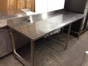 Heavy duty all stainless steel table with backsplash on Sale