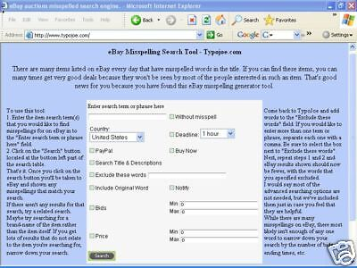Free eBay Misspelling Typo Search Tool Save $$ Buying Find Hidden deals!