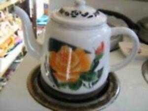 Enamelware Teapot with Flower--Vintage--$25
