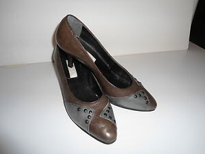LEATHER BROWN AND GREY SHOES