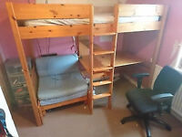 Child's High Sleeper single bed with integrated Futon and desk
