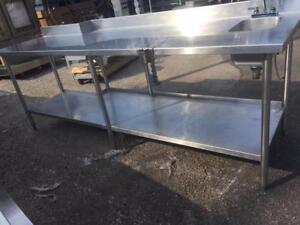 Commercial stainless steel table 102'x32' with hand sink