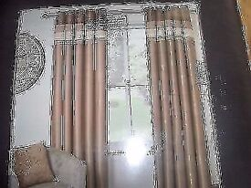 Faux silk eyelet curtains lined natural & BEIGE 46IN X 72N DROP bnip.