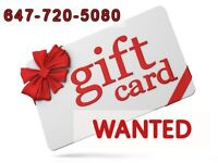 OFFERING CASH FOR YOUR GIFT CARDS, STORE CREDITS --647-720-5080