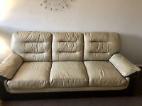 Scs real leather 3 and 2 seater sofas