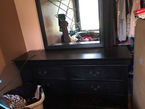 Sleigh Bed, Nightstand, and Mirrored Dresser set