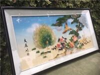 Large Chinese Framed Picture Peacocks Birds Asian Oriental Scenery Themed Interior Decor