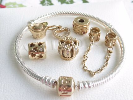 100% Authentic Pandora Bracelet and 14K Gold Charms