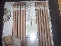 Faux silk eyelet curtains lined natural & BEIGE 46IN X 72N DROP bnip.